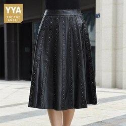Новое поступление 2019, женские юбки из натуральной кожи, женские юбки, модные, панк, с заклепками, высокая талия, плиссированные юбки, облегаю...