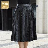 2019 Новое поступление женские юбки из натуральной кожи женские юбки модные панк заклепки Высокая талия плиссированные юбки Slim Fit Faldas Mujer