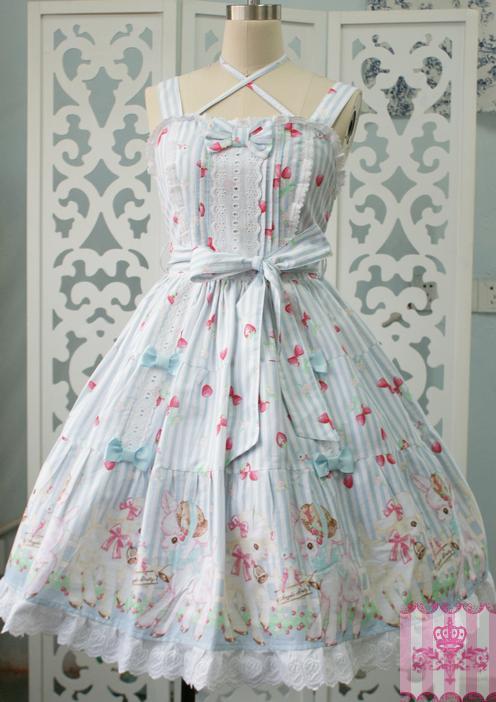 Sweet Lolita Cute Strawberry Sheep Garden Dresses JSK Medieval Renaissance Cotton Dress