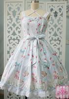 Sweet Lolita Cute Strawberry Sheep Garden Dresses JSK Medieval Renaissance Cotton Dress victorian dress summer style