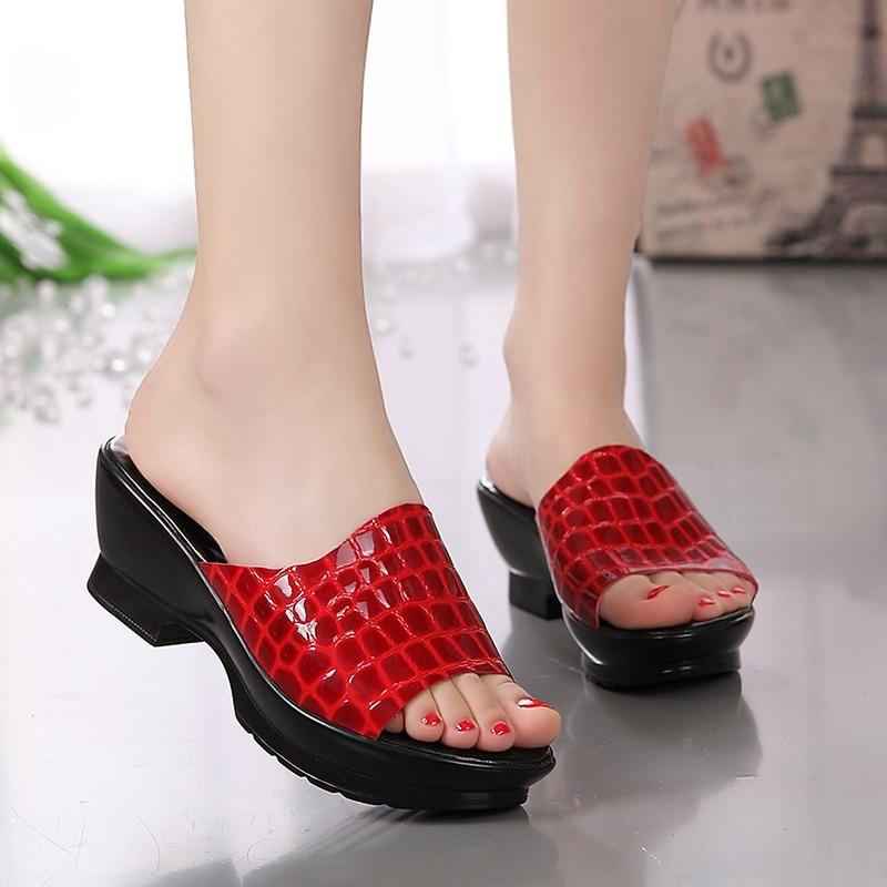 Plus Größe 42 Frauen Sandalen Aus Echtem Leder Sommer Hausschuhe 2019 Mode Mutter Hausschuhe Koreanische Sandalen Echt Leder Rindsleder