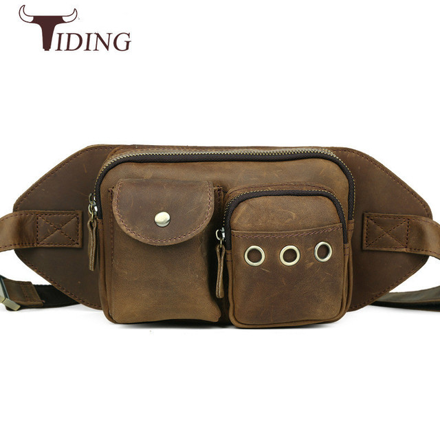 d3868a39a58a Tiding Cool Retro Waist Bag Cowhide Leather Fanny Pack Travel Small Mens  Bum Bag Day Pack Pillow Hip Belt Pouch Chest Pack Brown
