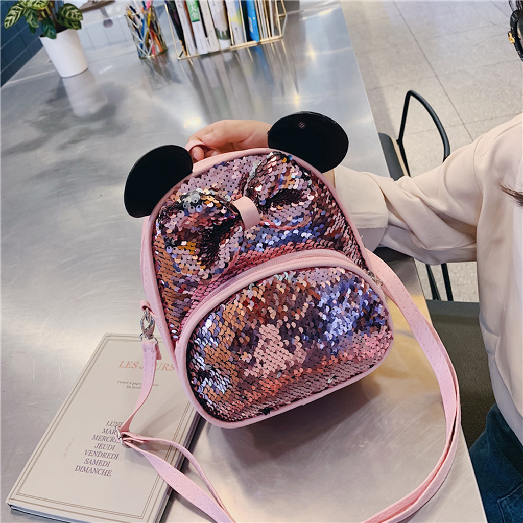 Kids Cartoon School Backpack Girls Sequin Travel Shoulder Bag Hiking Backpacks For Girls Cute Mouse Ear Shaped Small Bags Sac