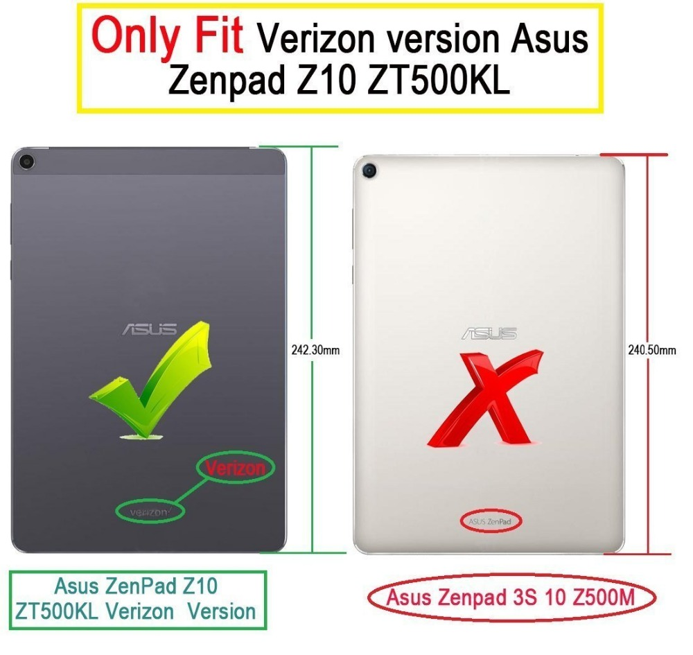 CucKooDo 100Pcs/lot Ultra Lightweight Slim Smart Cover Case for 9.7 inch ASUS Zenpad Z10 ZT500KL Verizon 4G Let Tablet