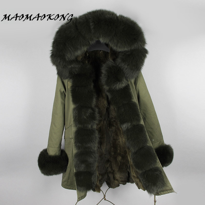 New Women Winter Coat Real Fox Fur Hood Thick Rabbit Fur Lining Woman Parkas Female Overcoat Winter Clothing Brand 2017