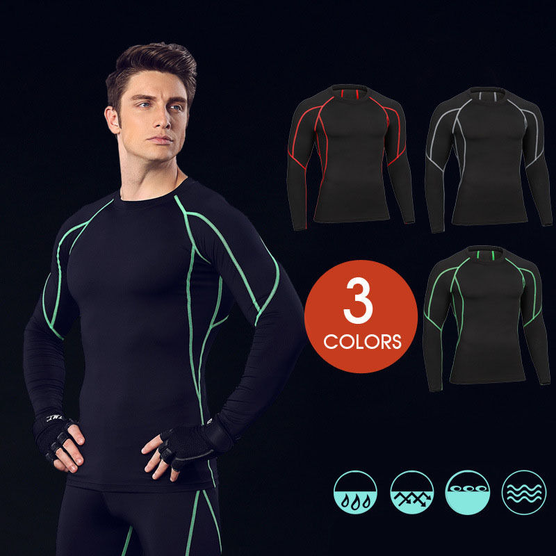 Mens Sports Compression Body Armour Under Base Layer Tops Gym Tight T Shirts