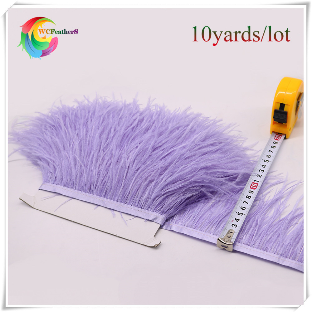 Wholesale 10yards dyed light purple natural ostrich feather trims width 10 15cm DIY Wedding Deco Clothing