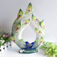 ceramic cerative Peacock lovers flowers vase pot home decor crafts room weeding decorations handicraft porcelain figurines