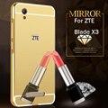 Para zte blade x3 case chapeamento de ouro espelho de metal de alumínio bumper quadro + tampa do pc de volta para para zte x3/blade t620 d2 phone case