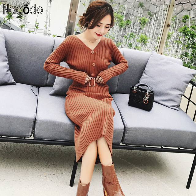 Nagodo Knitted Dress 2019 New Winter Long Sleeve Womens Casual Wear Long Pleated Dresses with belt v neck ladies Bodycon Dress