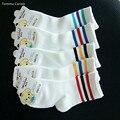 Unisex de Alta Calidad Blanco Con Rayas de Algodón Otoño Invierno Niños Niñas Niño 5 Estilo de Cosas de La Escuela de Fútbol Cortos Calcetines de los niños