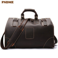 PNDMEvintage large capacity genuine leather men travel bag casual simple crazy horse cowhide duffle bag shoulder Crossbody Bags high capacity genuine leather travel bag fashion casual handbags shoulder bag men s duffle travel bags
