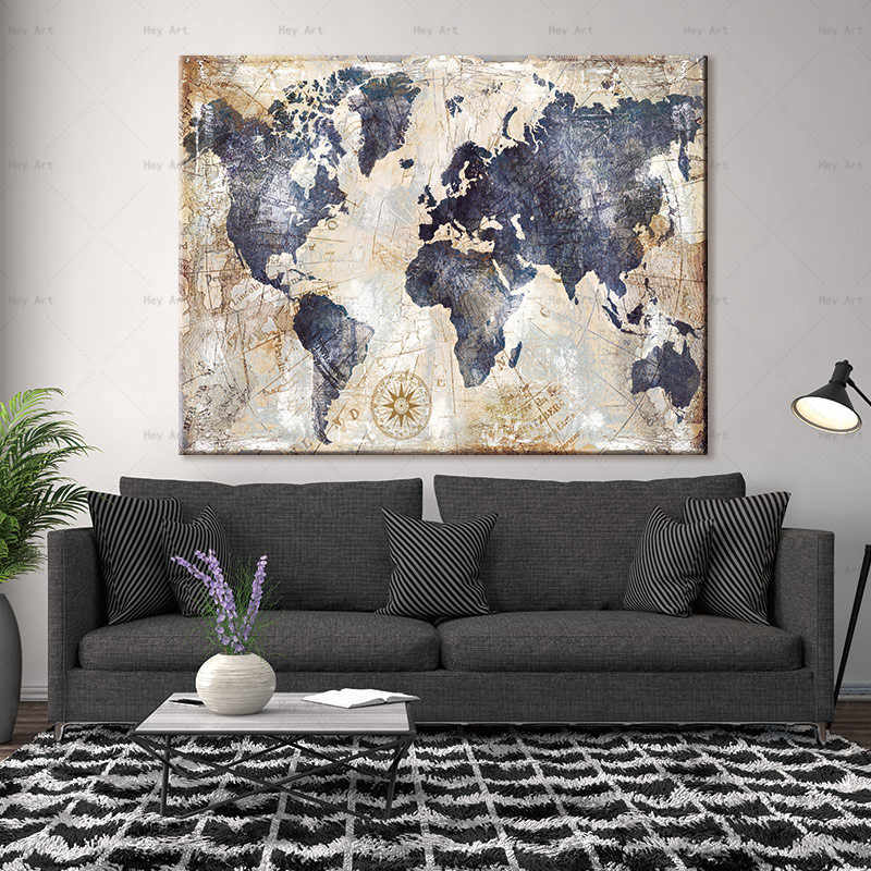 Abstract Painting Posters and Prints City Map Poster Pictures for Living Room Wall Art Canvas