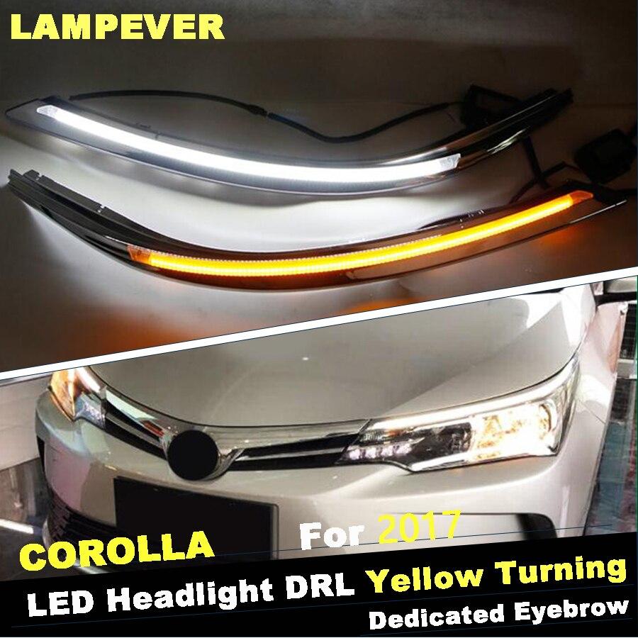2 pcs lampever car headlight led eyebrow daytime running light drl with yellow turn signal light