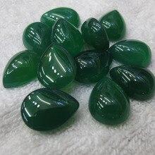 Одежда высшего качества натуральный зеленый агат e сердолика 15x20 мм грушевидной формы натуральный камень кольцо с драгоценным камнем кабошон 30 шт./лот