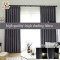 Современный простой стиль 99% высокое затенение теплоизоляционная ткань серый плотные шторы для гостиная спальня индивидуальные размеры