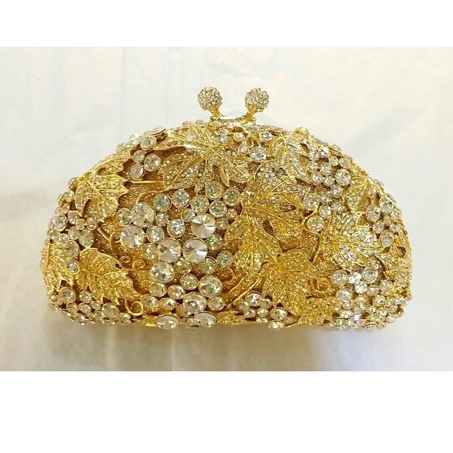 ФОТО Crystal GRAPE Fruit Lady Fashion Wedding Bridal Party Night hollow Gold Metal Evening purse clutch bag box handbag case