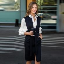 Striped Autumn Dress 2019 Women Elegant Sleeveless Sashes Knee Length V-Neck Office Vintage