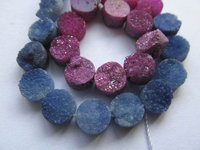 Drilled--2srands AA Grade 8 10 12mm Genuine Duzy Drusy Agate Round Button Rose violete Assortment cabochons bead