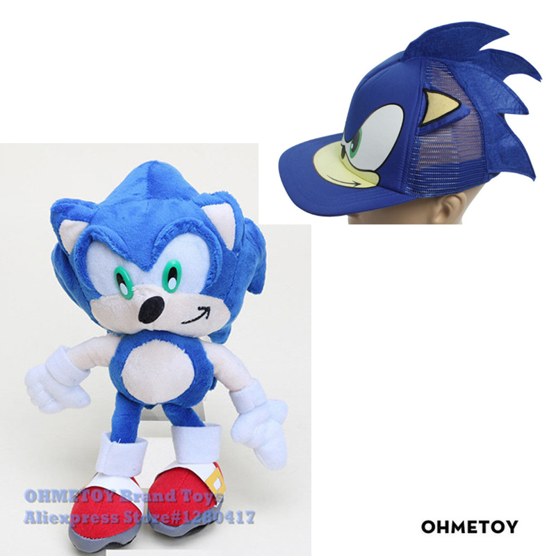 New 2PCS Sonic Toys The Hedgehog Plush Doll Cosplay Hat Base…