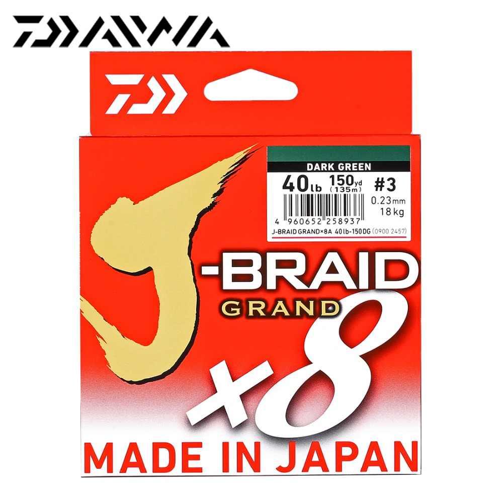 Nowy oryginalny DAIWA J-BRAID GRAND żyłka 135M 270M 8 nici pleciony PE linia wędkarskiego 18 20 25 30 35LB Made in Japan