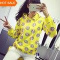 Cute donut print pullovers 2015 autumn women hoodies sweatshirts yellow large size M-XL sudaderas mujer fashion feminino moleton