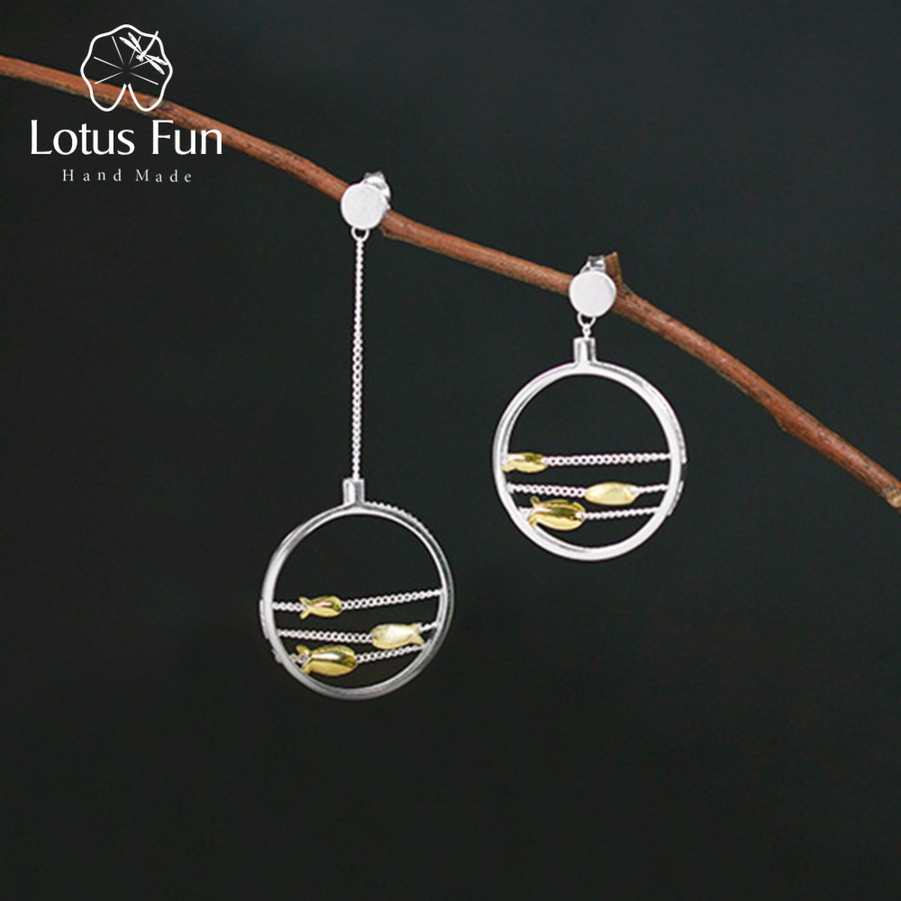 Lotus Fun Real 925 Sterling Silver Handmade Designer Fine Jewelry Creative Cute Moving Happy Fishes Dangle Earrings for Women
