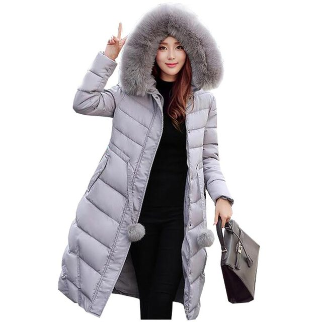 2016 Korean new thicken women down parka jacket coat winter warm long slim faux fur collar wadded outerwear hooded coat kp0754