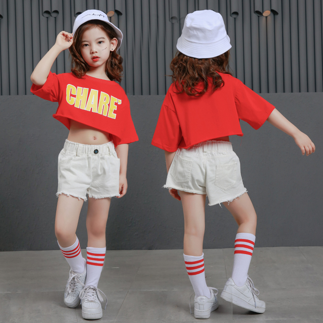 fc2aa0e9a96807 Teens Girls Two Piece Set Long Sleeve Children Crop Tops And Plaid Skirt  Pant Kids Hip Hop Dance Clothes Girls Children Spring