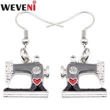 WEVENI Sewing Machine Earrings Drop Dangle Long Black Enamel Lightweight Earring Dropshipping New Fashion Tool Jewelry For Women