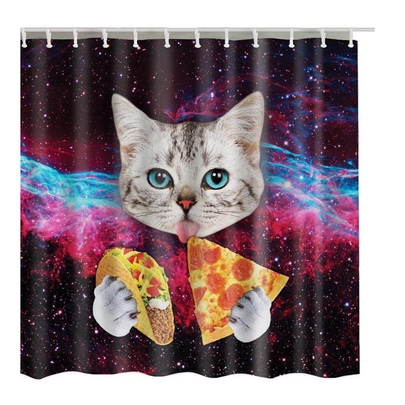 Luxurysmart Custom Star Burger Cat Shower Curtain Funny Printed ...