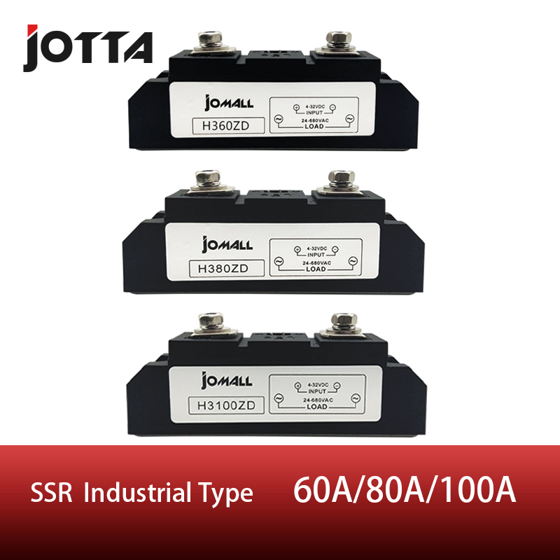 60A/80A/100A Industrial SSR Single-phase Solid State Relay Input 3-32VDC Output 24-680AC60A/80A/100A Industrial SSR Single-phase Solid State Relay Input 3-32VDC Output 24-680AC