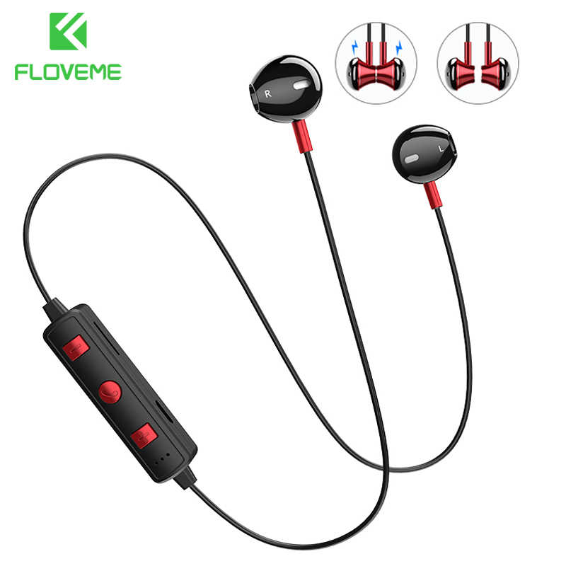 Floveme B11 Magnet Bluetooth Earphone Stereo Earbud Headphone Nirkabel dengan Build-In MIC untuk iPhone Xiaomi Semua Smartphone