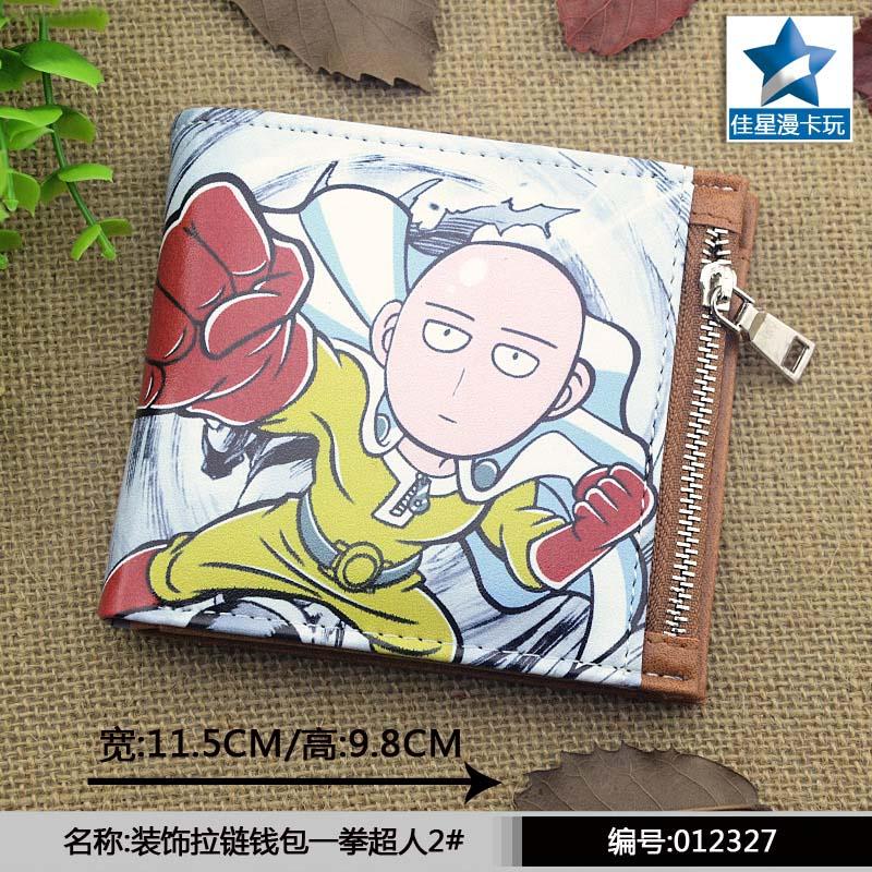 Saitama Sensei Horizontal Zipper Wallet/Anime One Punch Man Short Frosted Purse horizontal zipper wallet american super hero iron man short frosted purse