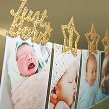 Новорожденный день рождения игрушки 1-12 месяцев ребенок фото плакат с зажимом 1-й День рождения фоторамка детский душ Звездный баннер мультфильм шляпа игрушки