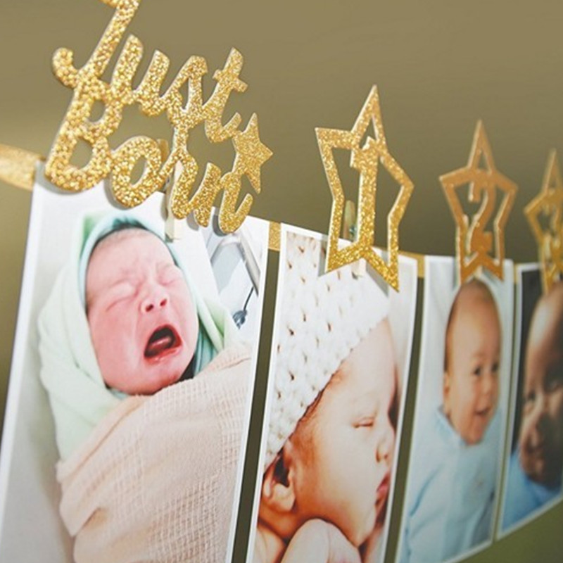 Newborn Birthday Toys 1-12 Month Baby Photo Banner With Clip 1st Birthday Photo Frame Baby Shower Star Banner Cartoon Hat Toys