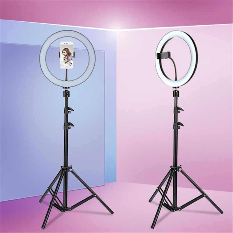 Tycipy LED Selfie Ring Light 24W 5500K Studio Photography Photo Fill Ring Light with Tripod for iphone Smartphone Makeup
