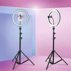 Image 1 - 10Inch Led Video Selfie Ring Licht Met 62Inch Statief Stand Telefoon Houder Fotografie Vulling Ring Licht Voor Youtube make Up Studio