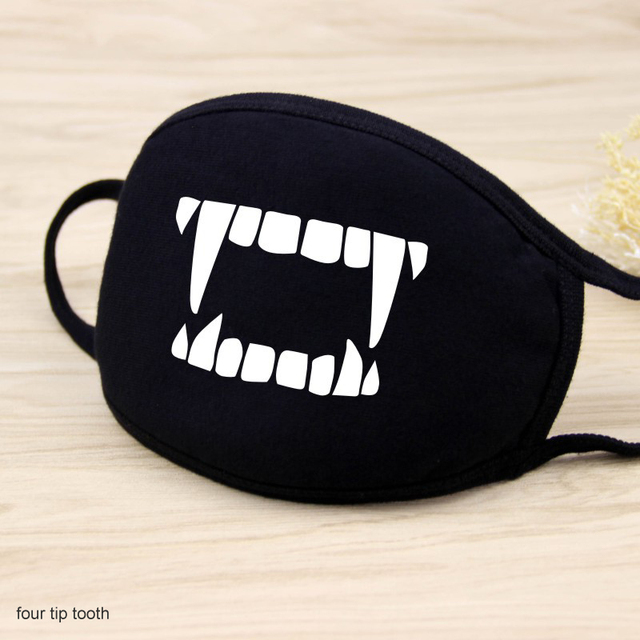 1 Pcs Cotton Masks Keep Warm Cartoon Funny patten Face Mouth Mask Unisex banquet party Mouth Muffle Respirator black 12 Style 4
