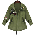2016 Outono Inverno Plus Size Mulheres 5XL Casaco básico Jaqueta Bomber Militar Do Exército Verde Casacos Jaqueta Feminina Chaquetas Mujer