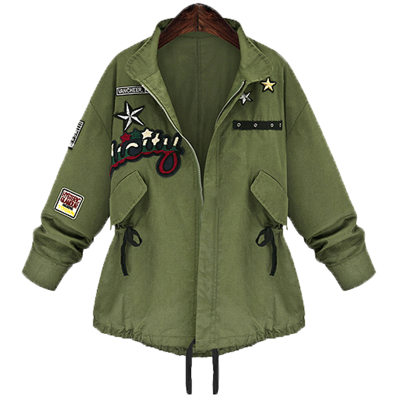 2017 Autumn Winter Plus size 5XL Women Military Bomber Jacket basic Coat Army Green Casacos Jaqueta Feminina Chaquetas Mujer
