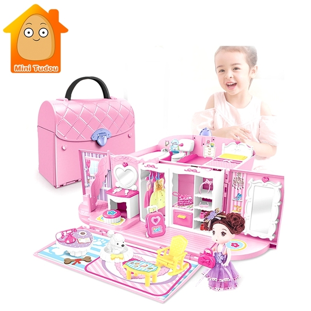 Plastic Diy Bedroom In Handbag Carry A Home Play Set For Doll S House Toy Kids Pretend Toys Gifts