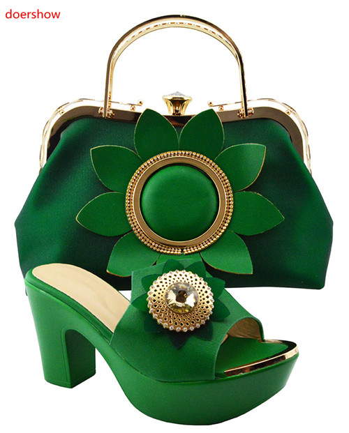 doershow D.green Shoes and Bag To Matching African Shoes and Bag Set For Party Nigerian Women Fashion Shoes and Bags JZS1-35