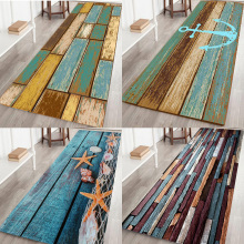 New Retro Kitchen Bath Bathroom Shower Floor Door Mat Rug Anti-Slip Wood Strip vintage retro window stone wall print floor rug