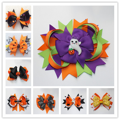 fashion girl halloween hair bows ribbon flower accessory headwear snap barrettes hair accessory hot sale headwear yiwu