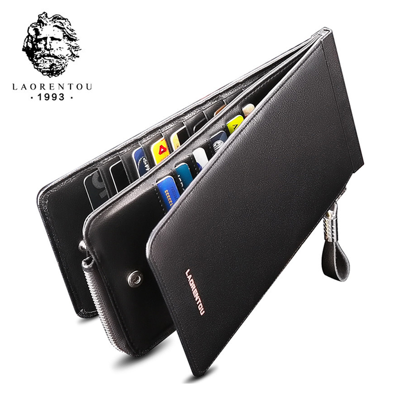 Laorentou Men Wallet Genuine Leather Card Holder for Men Bank Credit Card ID Holders Brand Large Capacity Luxury Card Case
