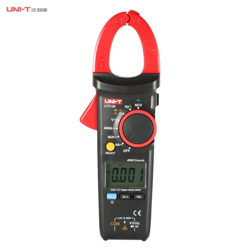 UNI-T UT213A Handheld Digital LCD Clamp Meter Multimeter Voltage AC Current 400.0A Resistance Capacitance Meter