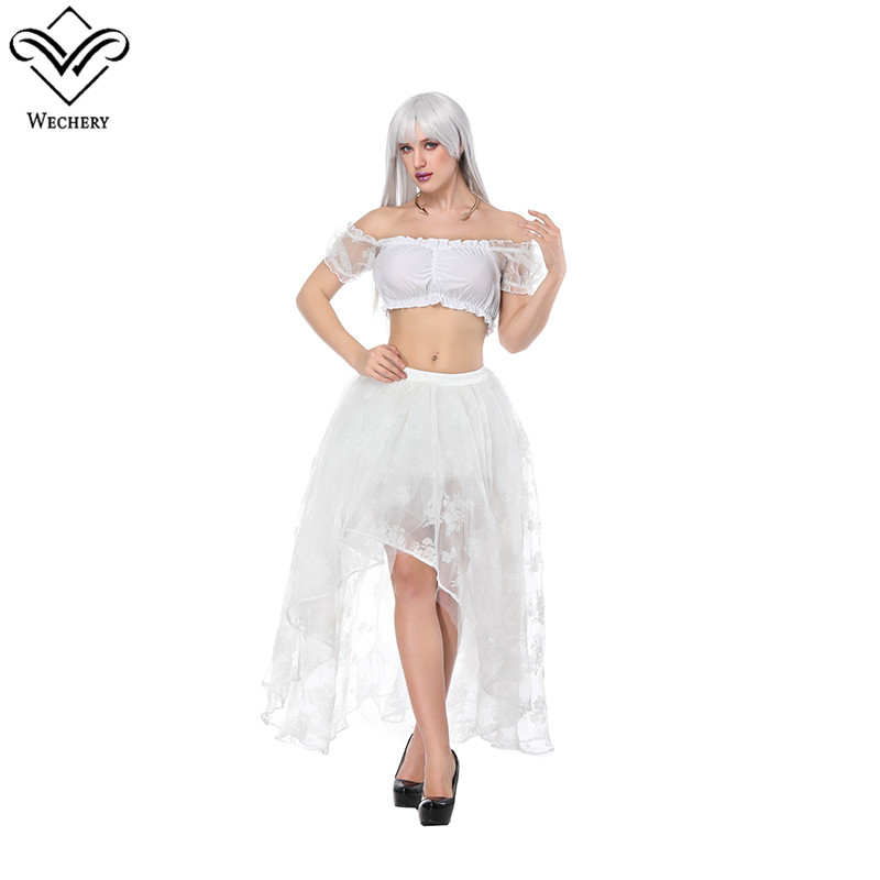 Wechery Sexy 2018 New Skirt Womens Long Lace Cut Out Skirts with Off Shoulder Crop Tube Tops Set Floral Steampunk Gothic Skirt