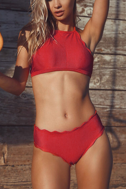 Swimwear: Sway In The Breeze Solid Bikini Set