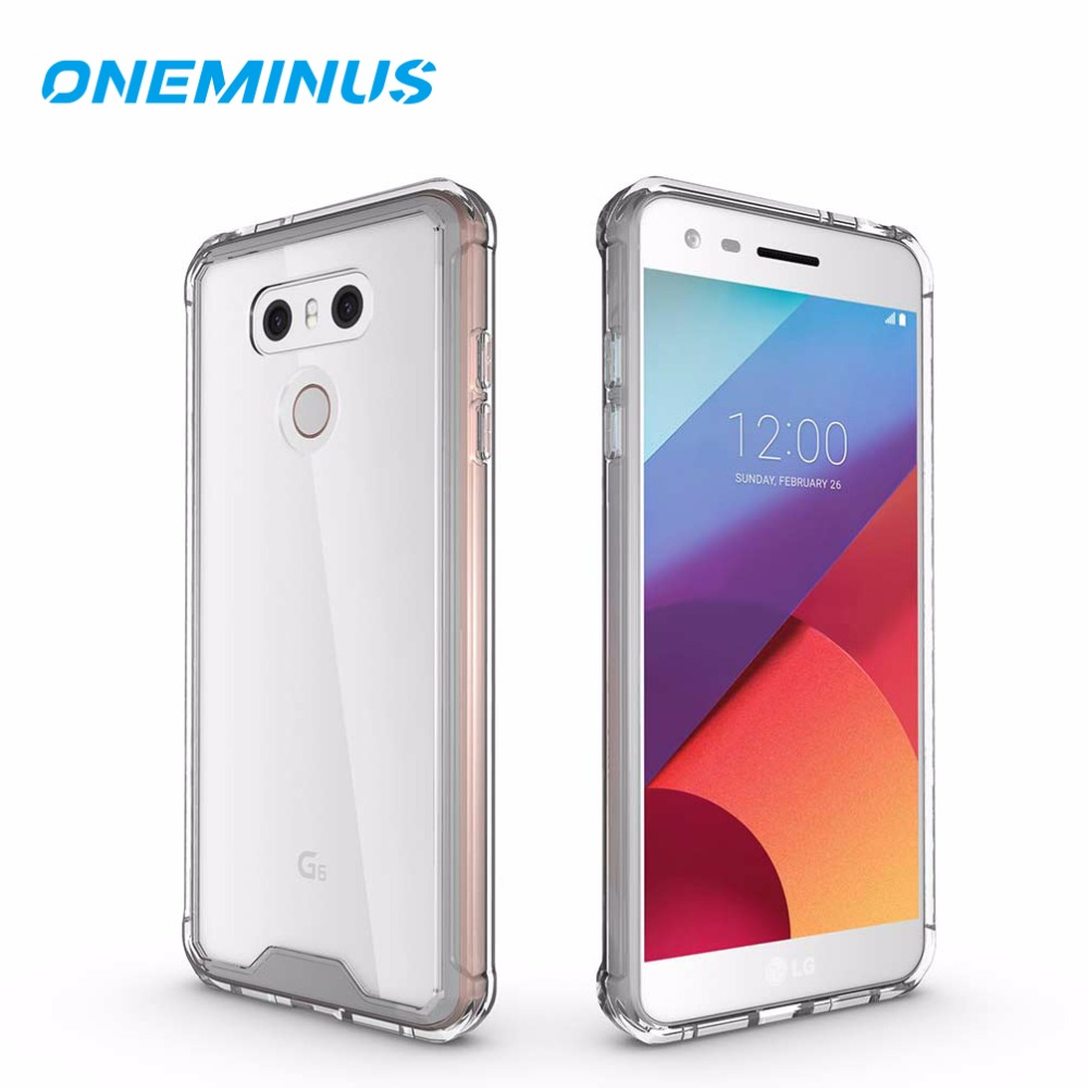 OneMinus Shock-resistent fodral till LG G6 Cover Crystal Transparent Hard Back Phone Cover för G6 g 6 clear Case for G7 Thinq G 7